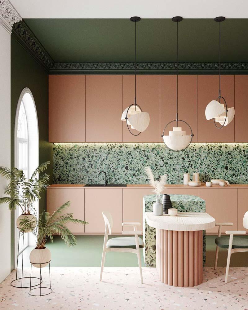 Cuisine rétro pop en terrazzo vert mouchetée noir, vert et blanc avec du mobilier minimaliste