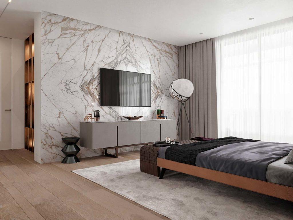Du papier peint effet marbre pour habiller un mur dans la chambre