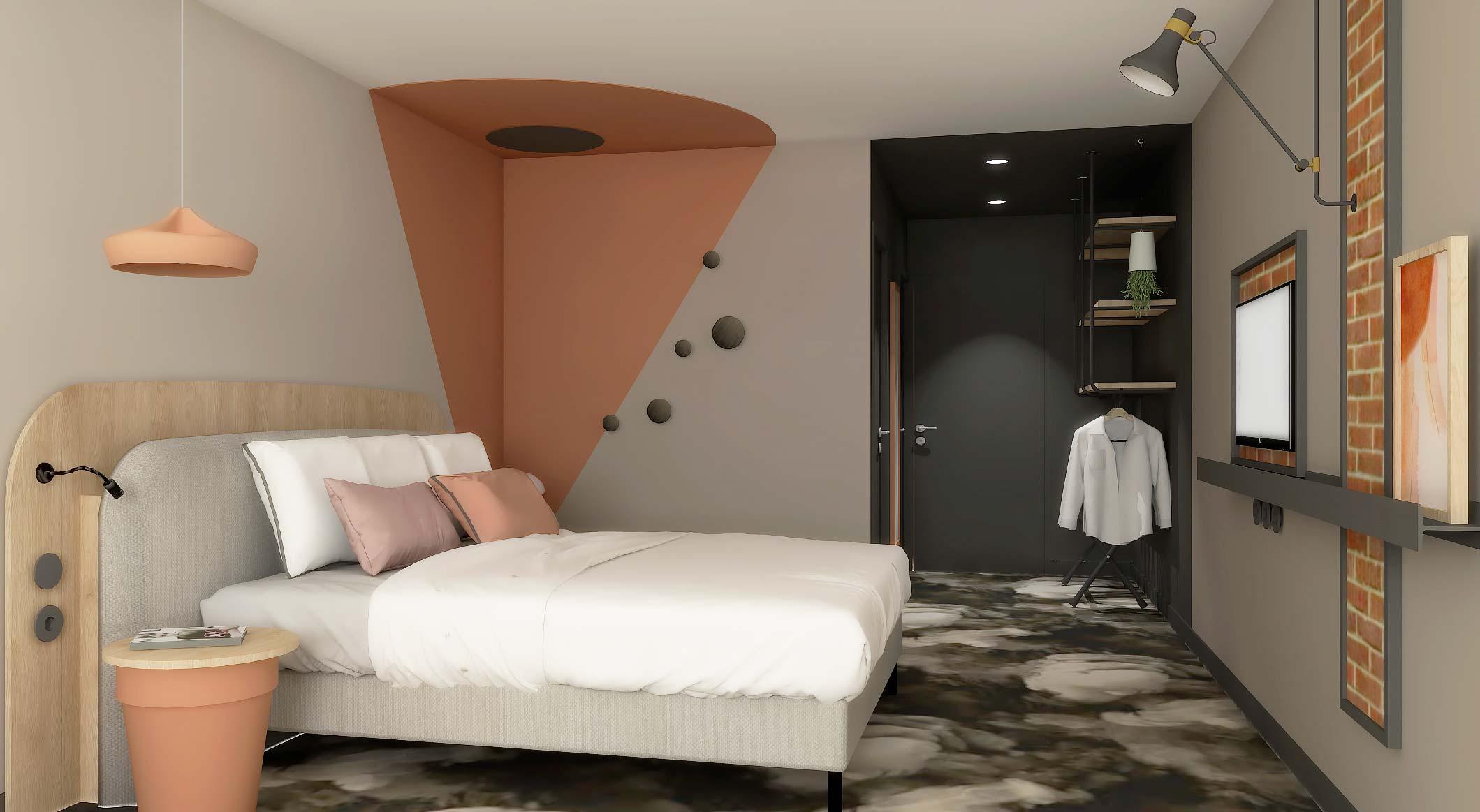 Réalisation d'une chambre d'hôtel de couleur terracotta
