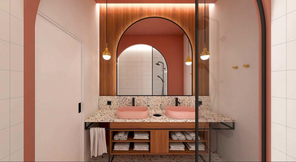 réalisation d'une salle de bain rétro avec sol et plan de travail en terrazzo