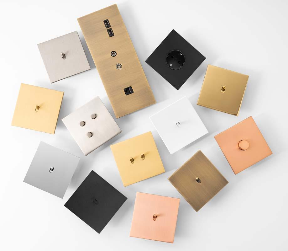 Sélection d'interrupeurs minimaliste en métal brossé