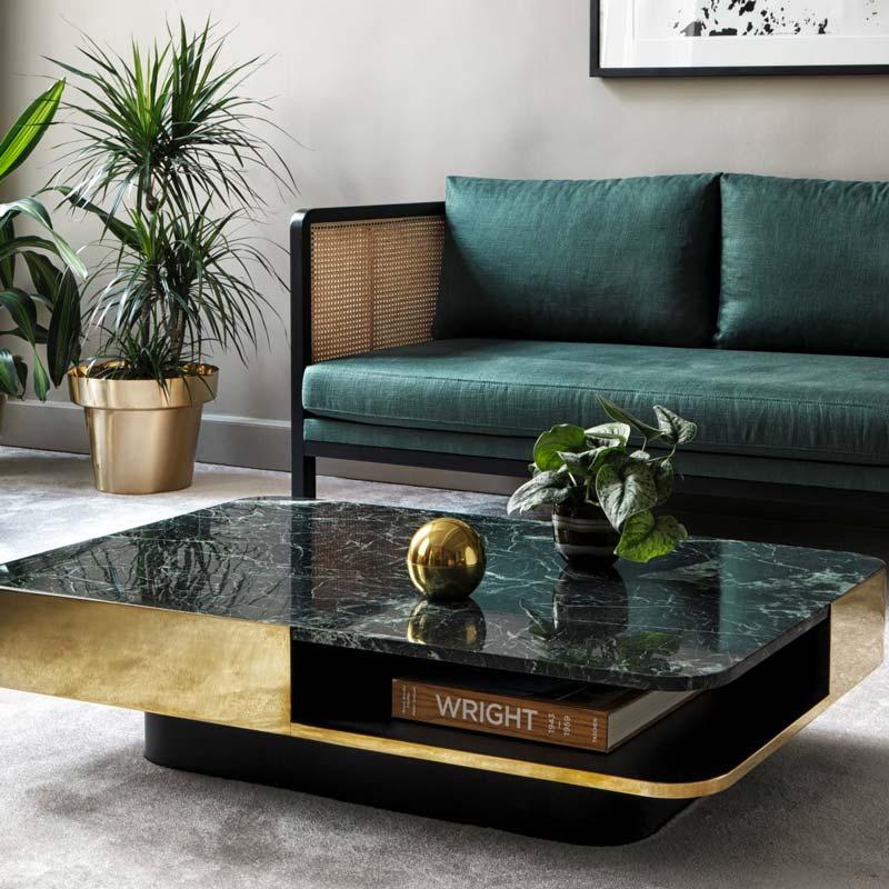 Table basse de salon en marbre noir