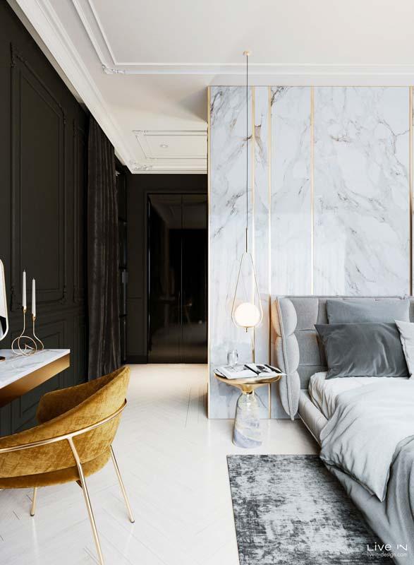 Une tête de lit en marbre pour un aspect chic