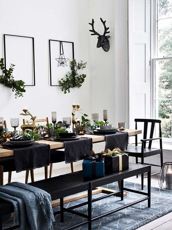 Table de réveillon moderne, scandichic noire et verte