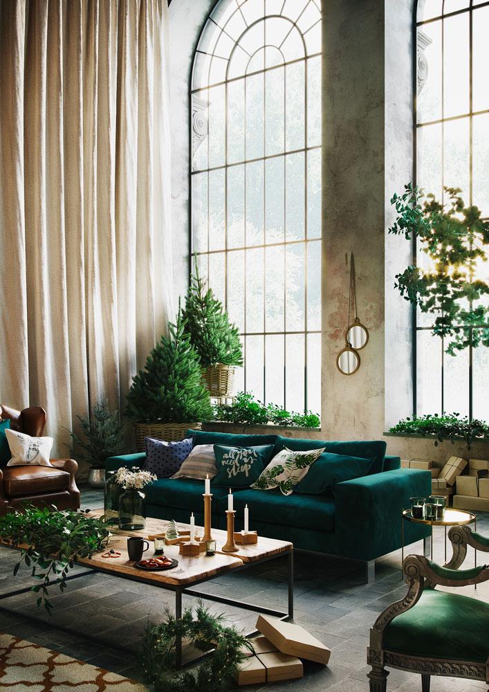Décoration minimaliste, accumulation de petit sapin de Noel vierge dans un intérieur chic et végétalisé