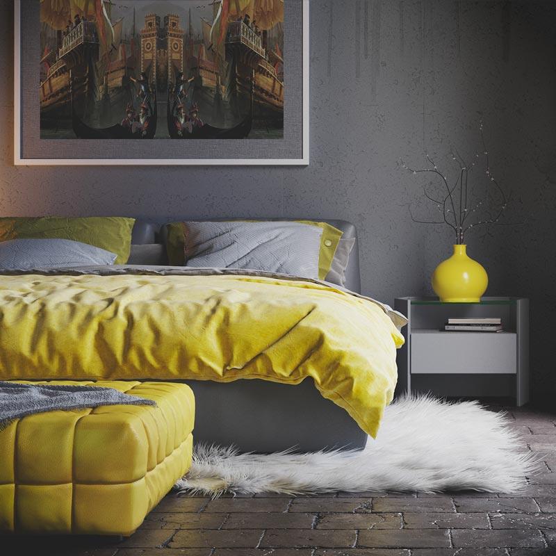 Chambre industrielle avec un mur de couleur Ultimate Gray écaillée. Petite déco j'aune illuminating