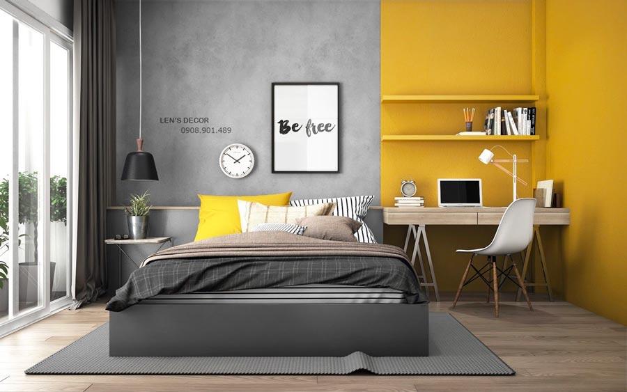 Décoration d'une chambre à coucher grise Ultimate Gray et jaune Illuminating