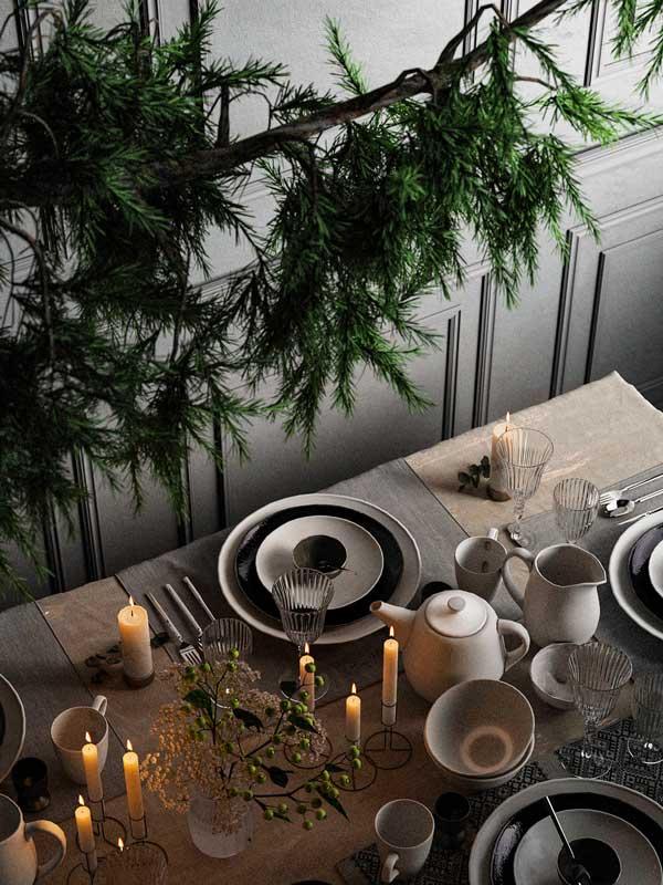 Décoration champêtre pour la table du réveillon de Noël, branche de sapin suspendu