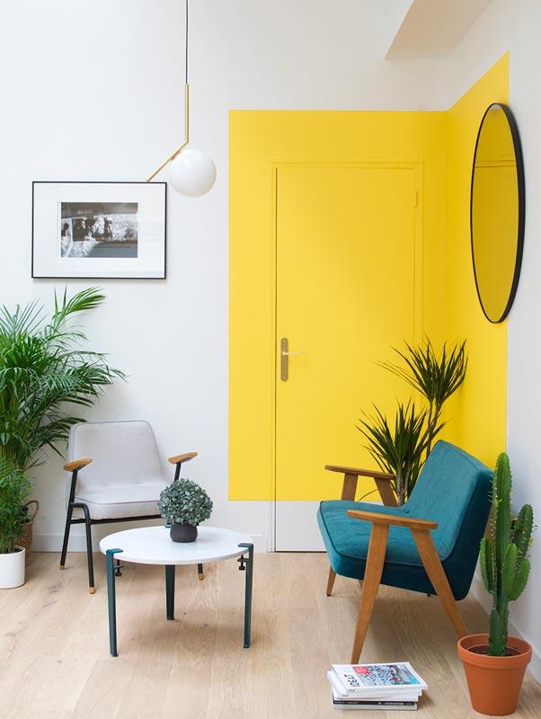 Peinture trompe l'oeil jaune illuminating