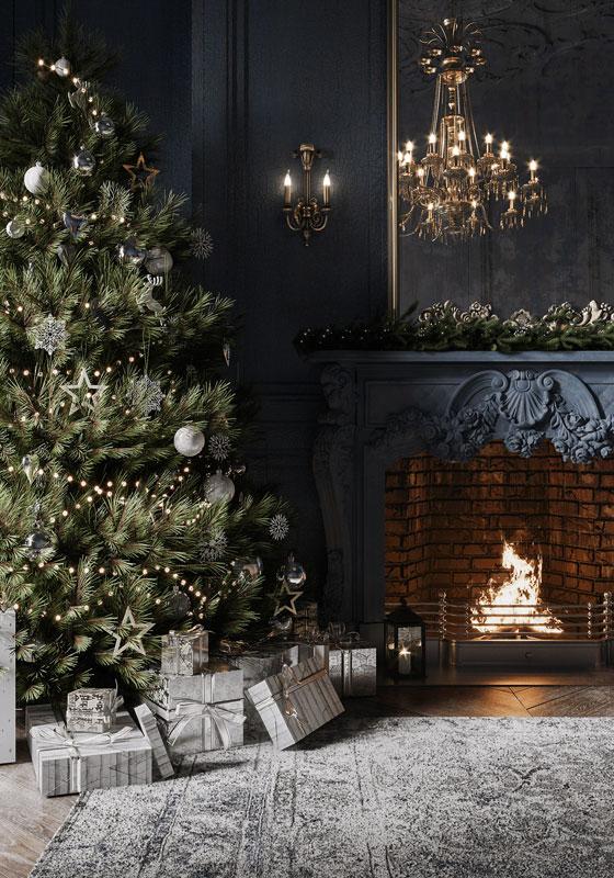 Décoration d'un sapin de Noel minimaliste pour un intérieur baroque, tendance 2020