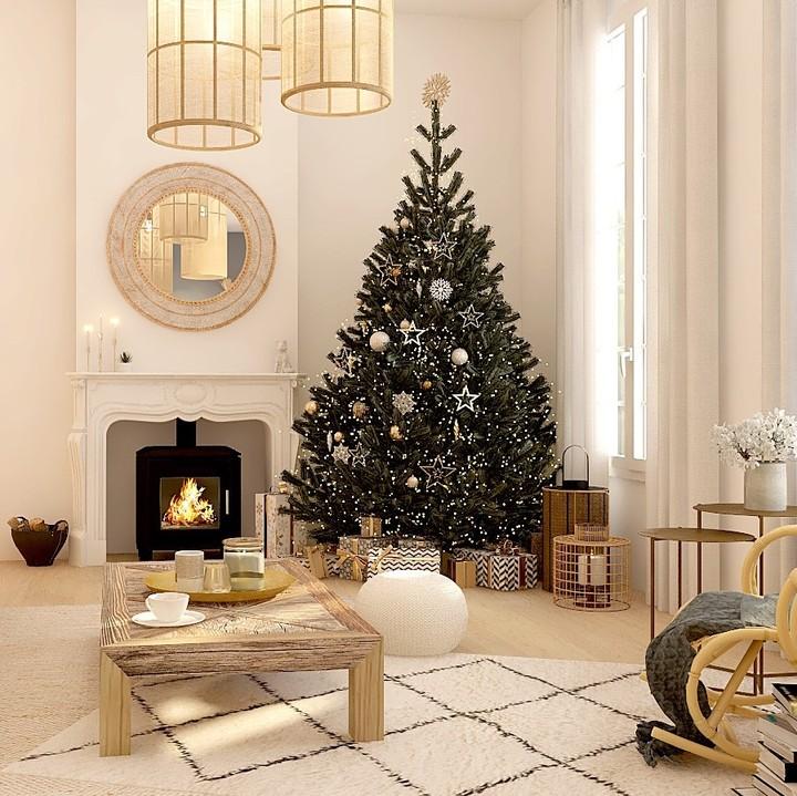 Sapin de Noël, décoration scandicraft épurée en bois et blanche