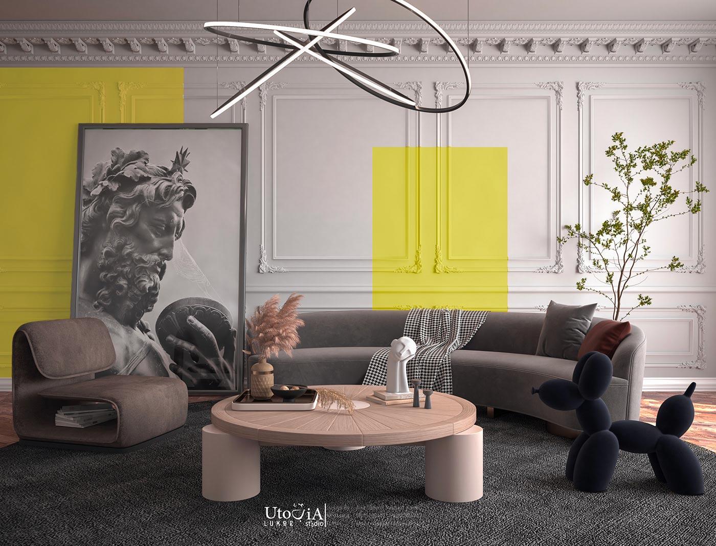 Salon design et contemporain avec des boiseries aux murs et des cadres de peinture jaune illuminating