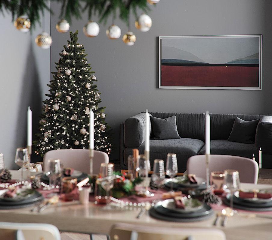 Sapin de Noel épuré à la décoration blanche et argenté dans un intérieur moderne, tendance 2020