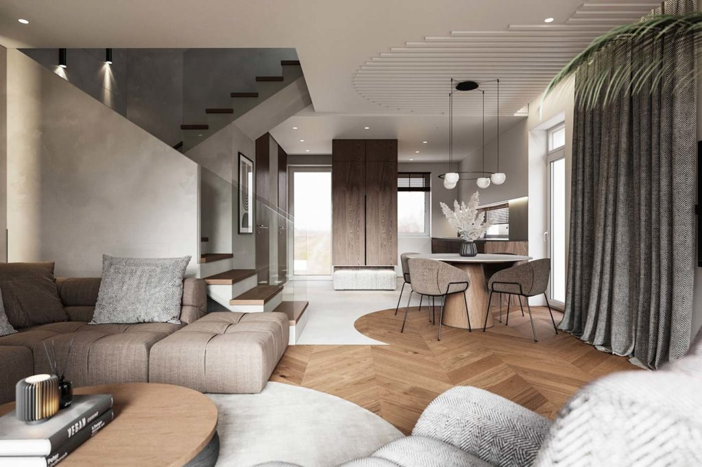 Appartement avec séparation arrondi au sol et au plafond