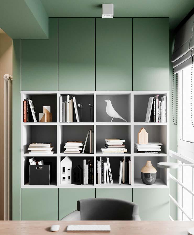 Une bibliothèque kaki et blanche