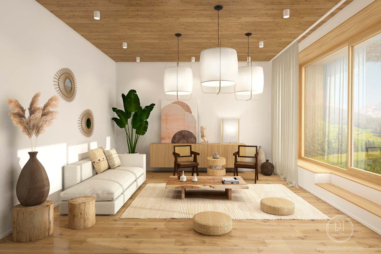 Un salon Japandi aux couleurs naturelles