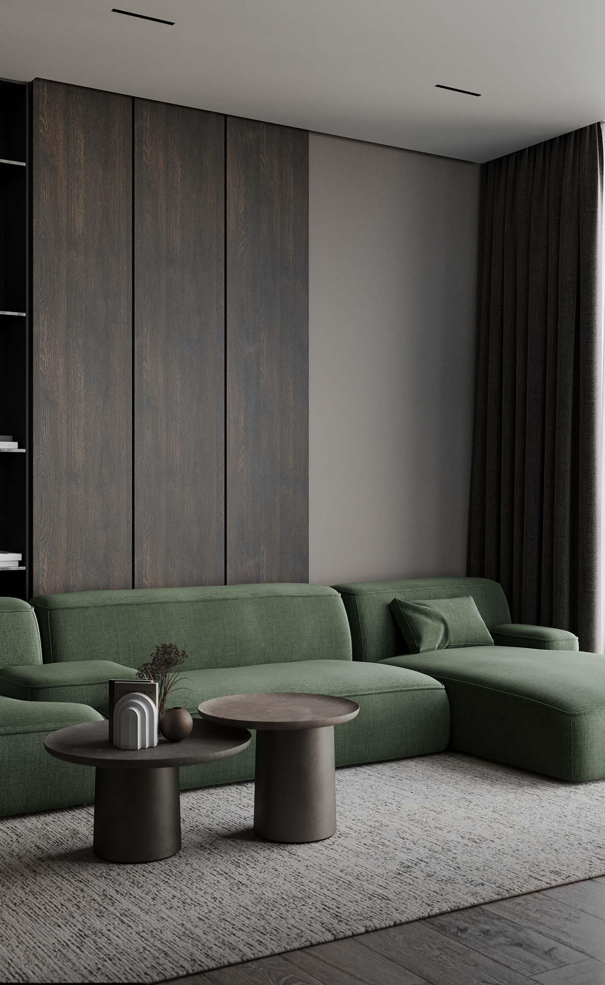 Un canapé en tissu kaki design