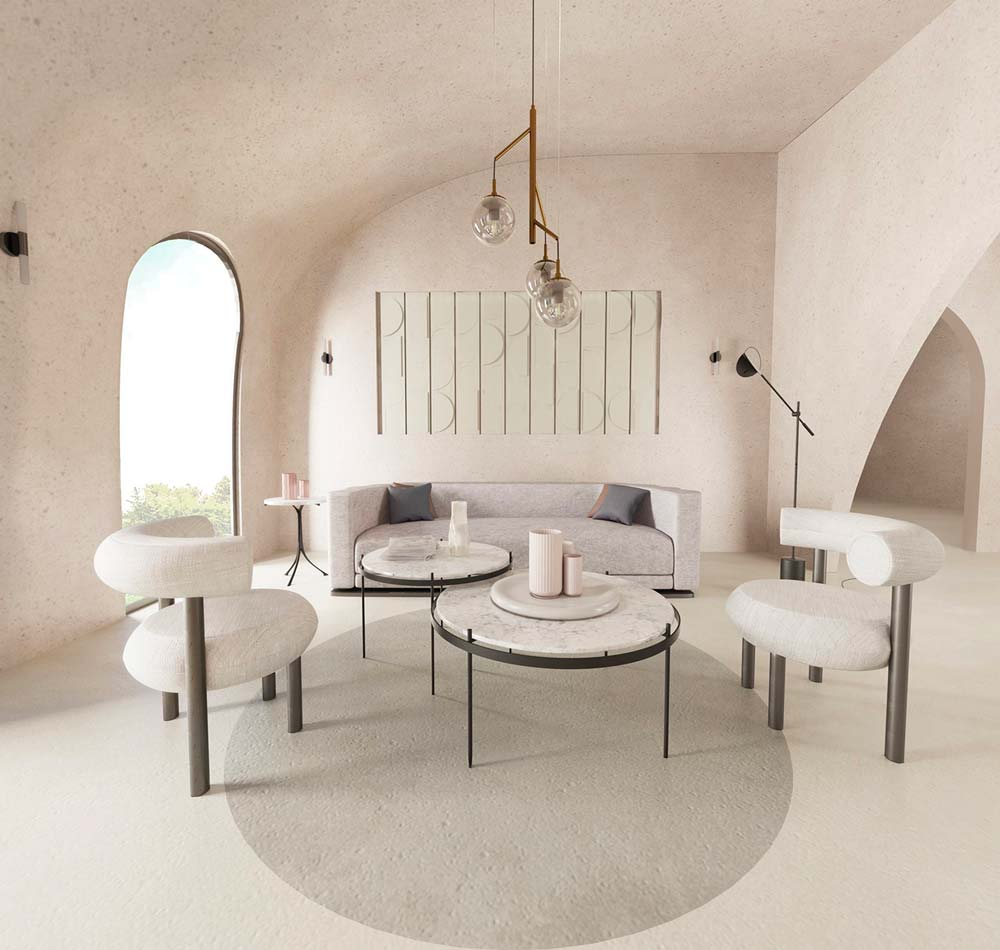 Salon minimaliste, canapé, fauteuil et table basse arrondi, tendance tout en rondeur