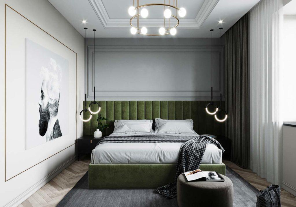 Une chambre dans un style classique avec une tête de lit en velours kaki