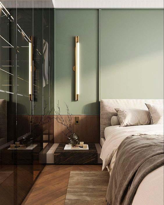 Une chambre design de couleur kaki et terracotta