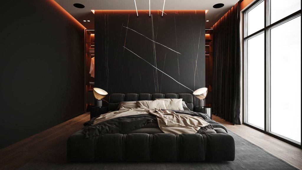 Une chambre total look noir avec une tête de lit effet marbre noir