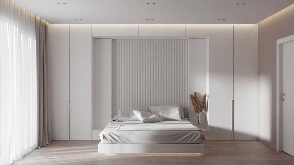 Une chambre total blanc dans un esprit wabi sabi minimaliste