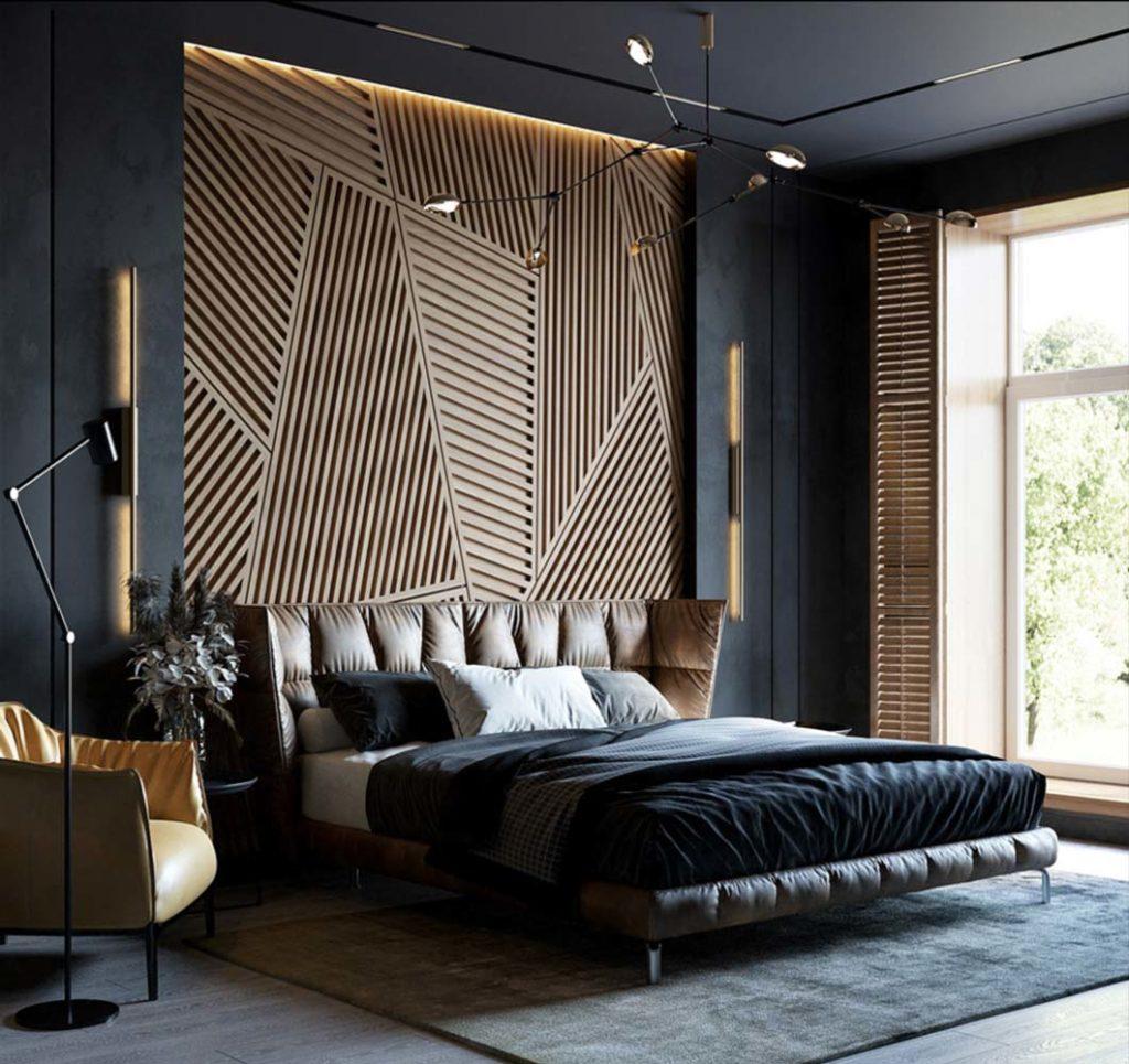 Une chambre noire avec une tête de lit en bois à motif