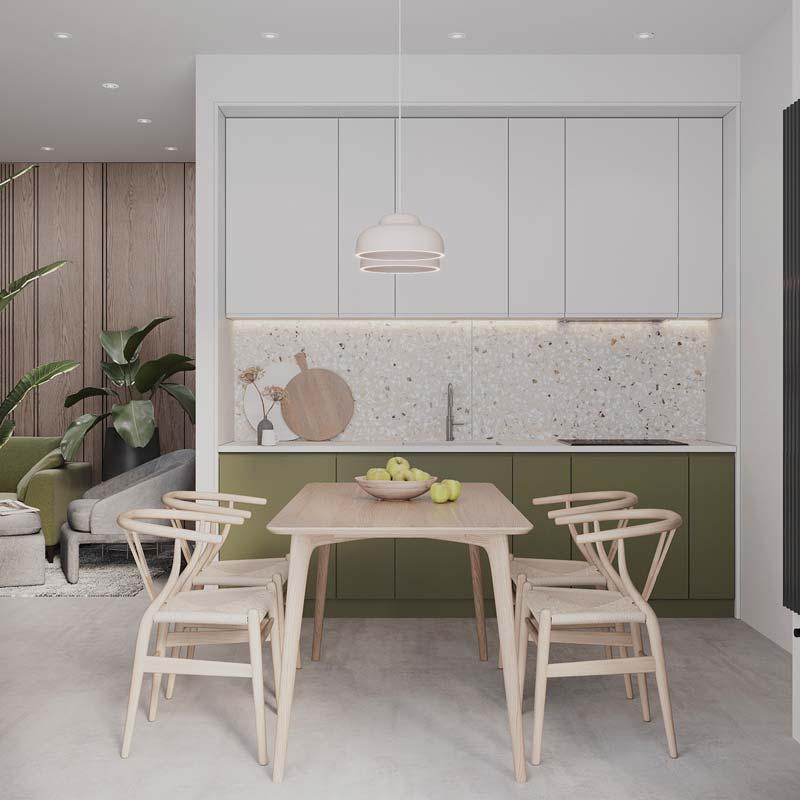 Une cuisine minimaliste blanche avec des meubles bas kaki
