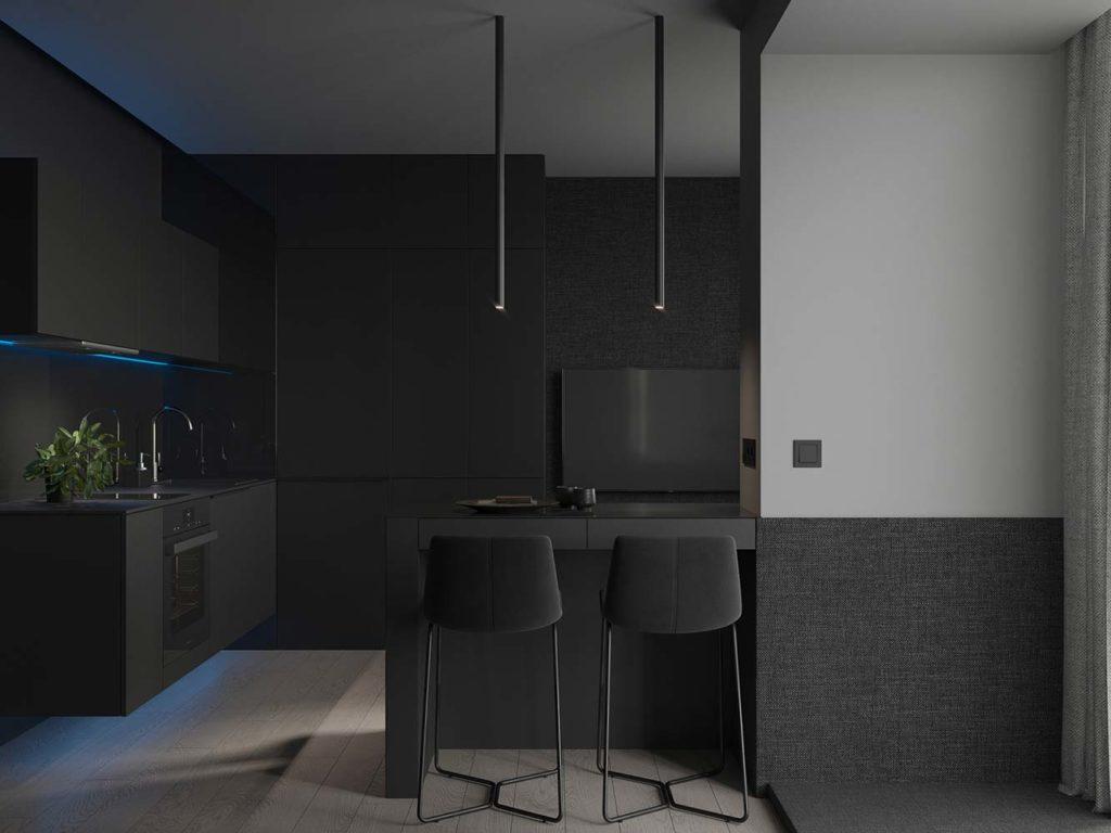 Une petite cuisine minimaliste noire mate suspendu