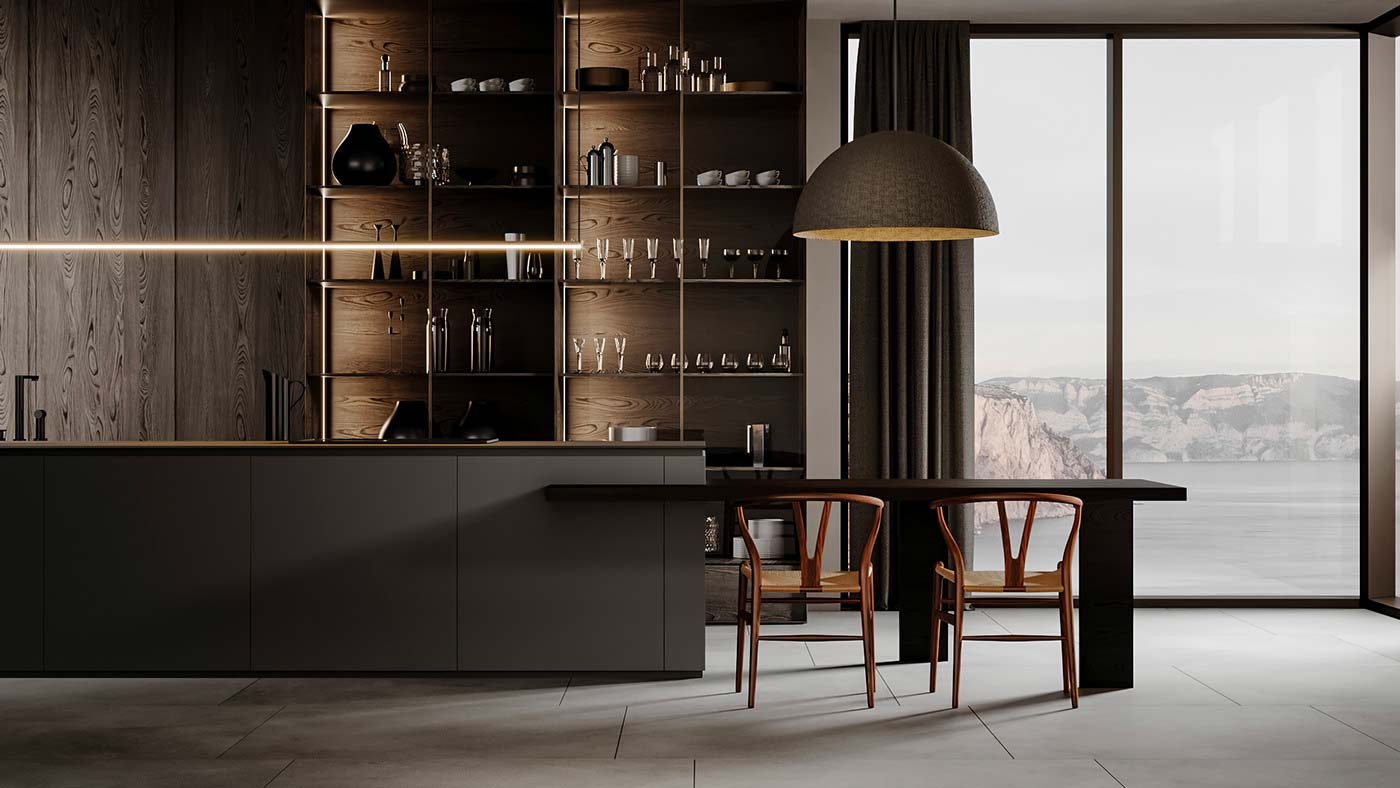 Une cuisine minimaliste foncée, bois et noir mate