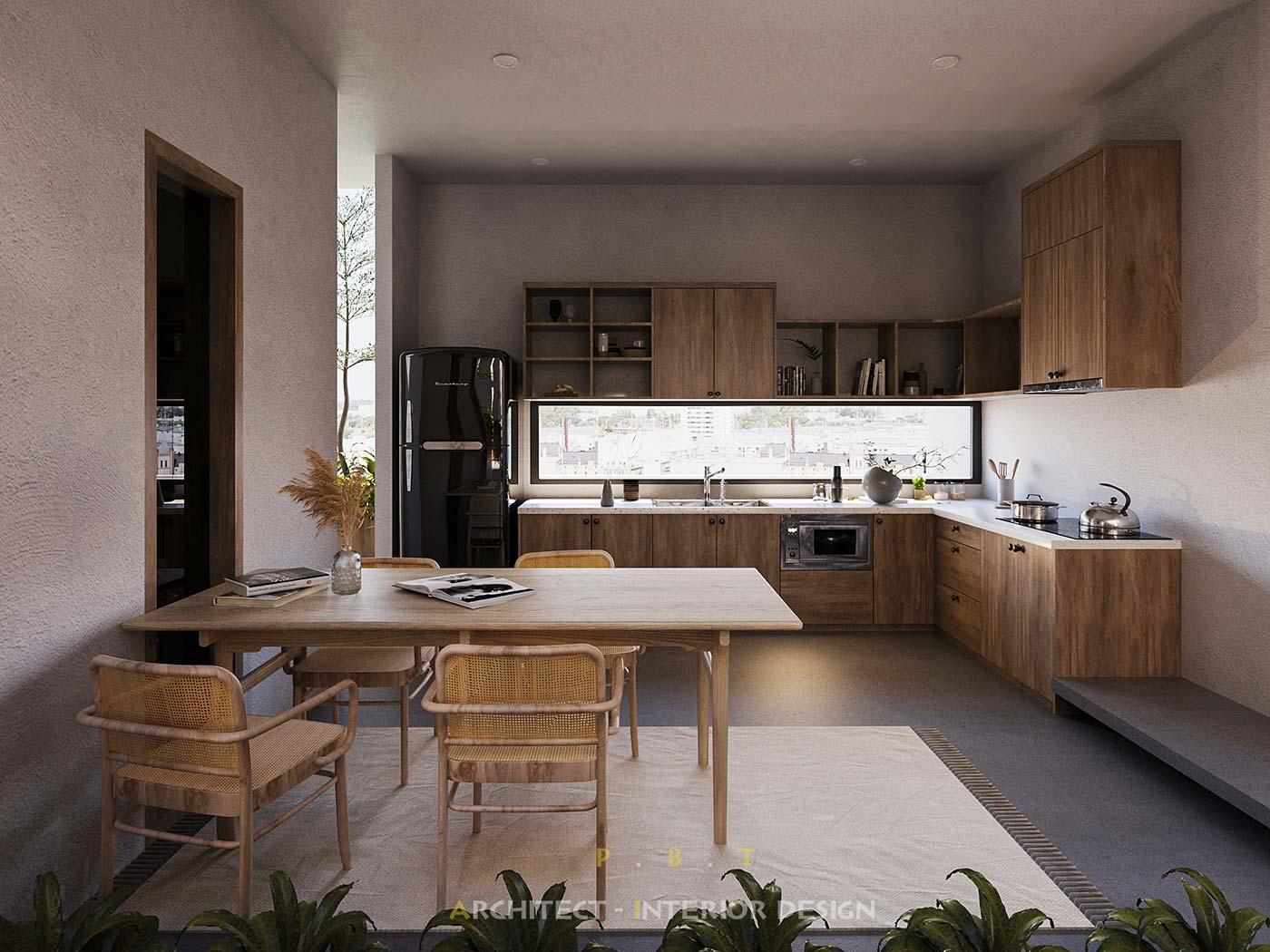 Une cuisine japandi avec du mobilier en bois et en cannage