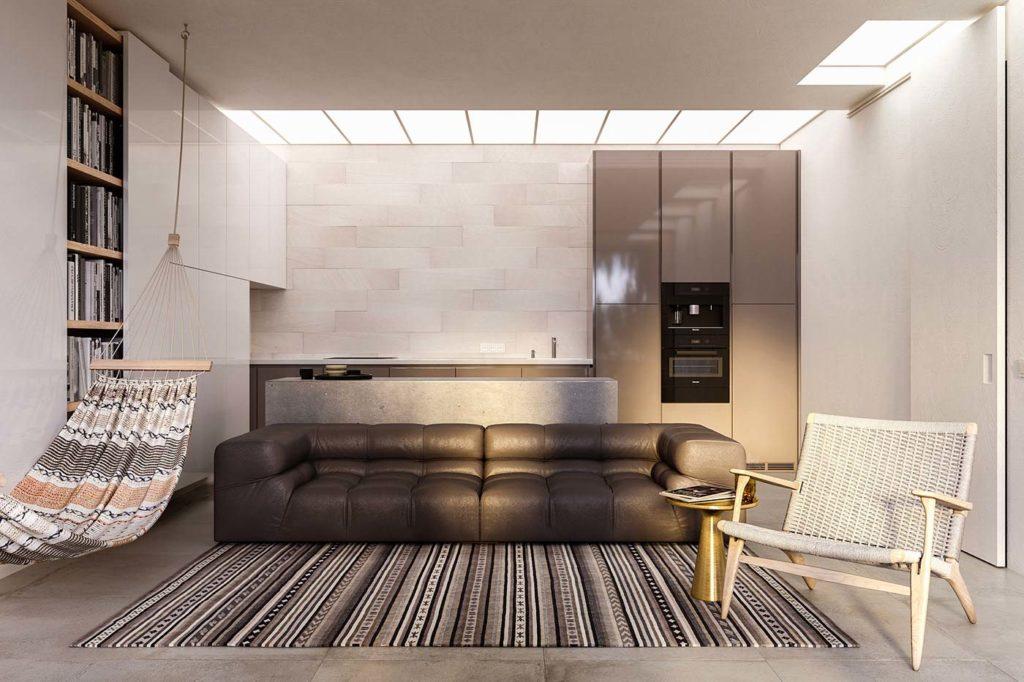 Salon Japandi avec un hamac, un fauteuil en fibres tressés et du mobilier bas minimaliste