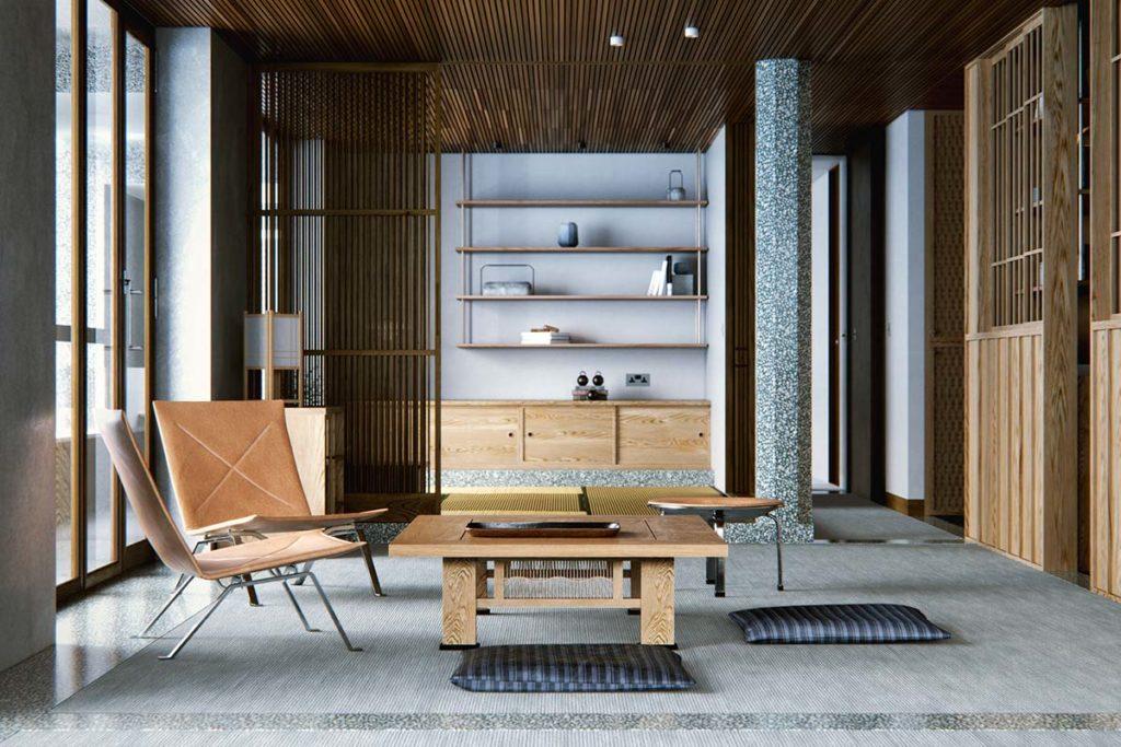 Un salon Japandi gris et bois très minimaliste