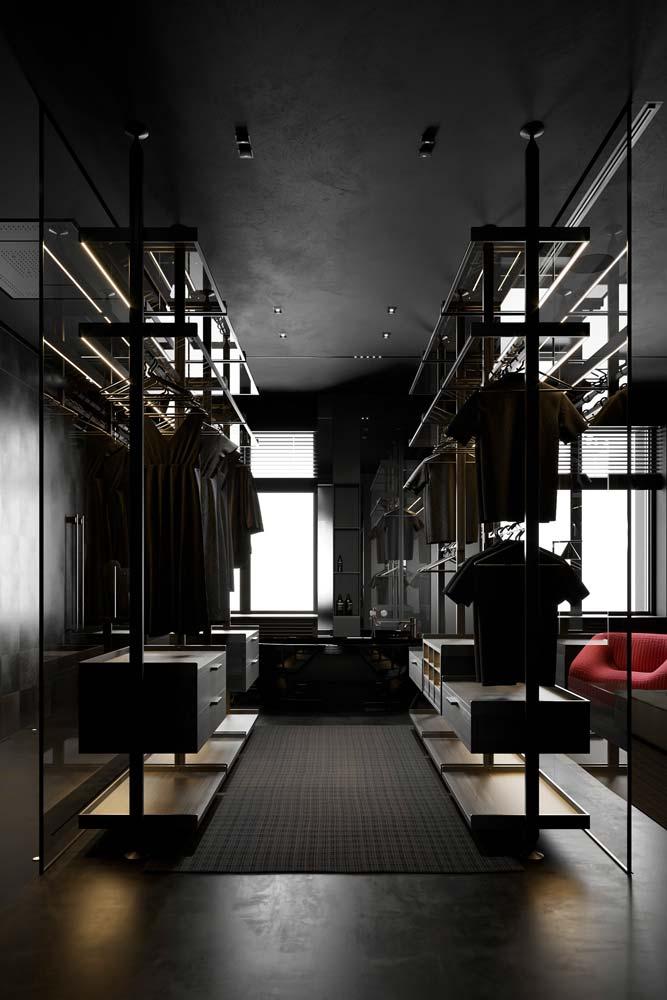 Un dessin ouvert sur la chambre par une vitre total look noir
