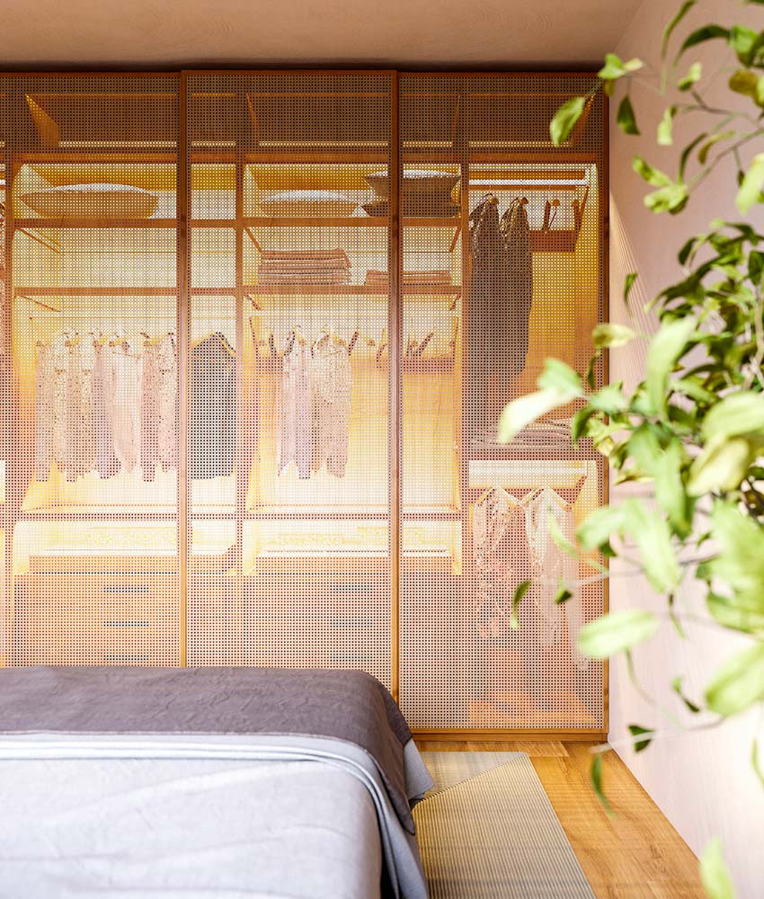 Un dressing Japandi avec des portes de placard en cannage