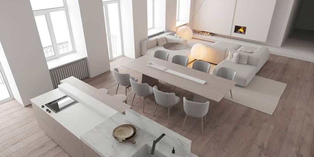 Ensemble cuisine, salle à manger et salon en total look blanc très lumineux