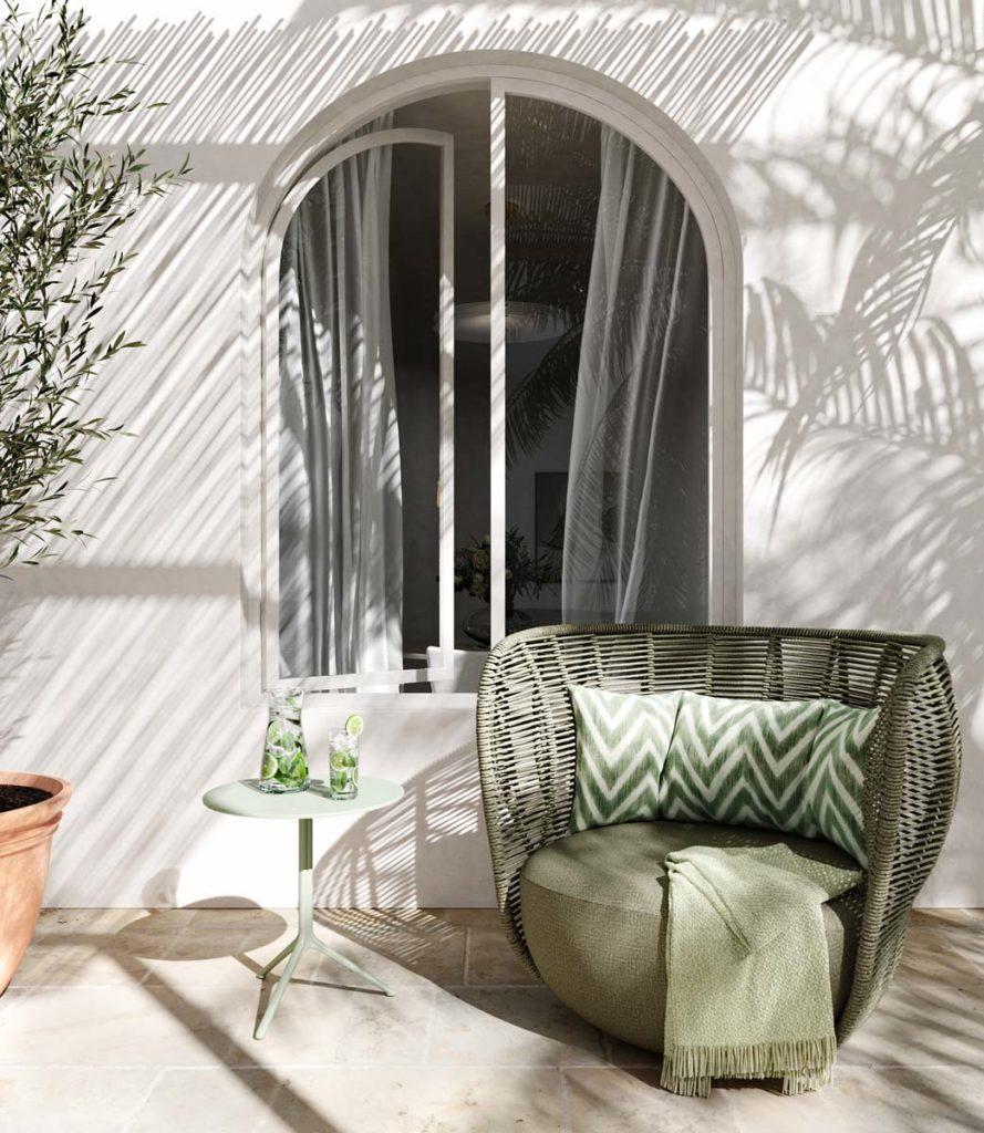 Du mobilier de terrasse kaki et blanc