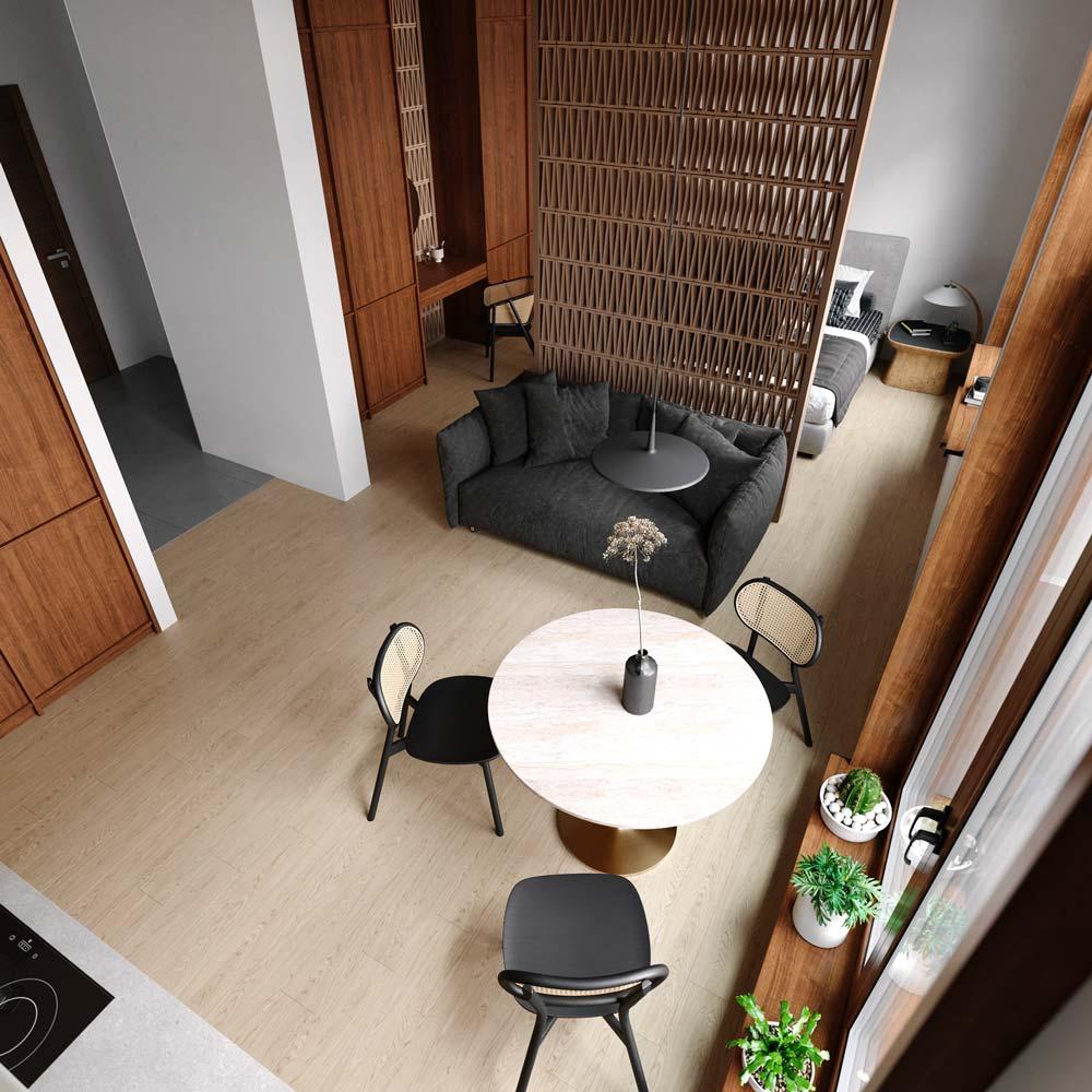 Petit appartement studio Japandi avec des séparations de style japonaise