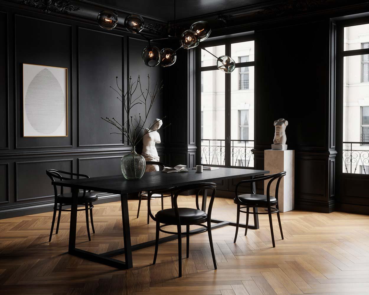 Salle à manger classique noire, sol en bâton rompu de couleur clair