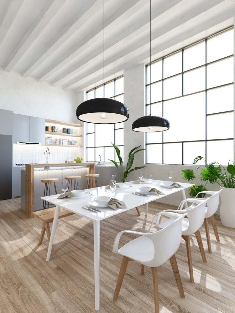 Salle à manger Japandi blanche et épurée avec une touche de gris anthracite