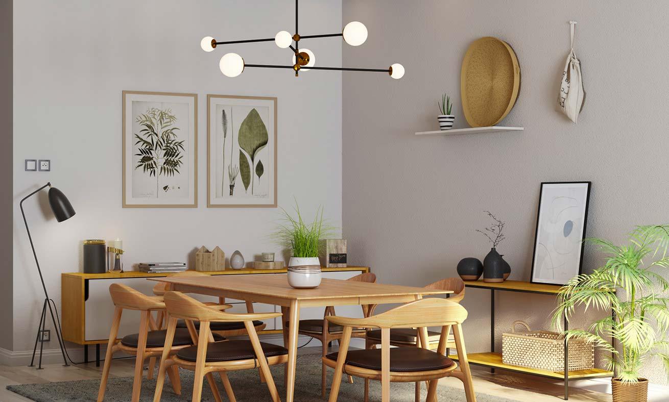 Salle à manger minimaliste Japandi. Mobilier bas et arrondit en bois blond chaleureux