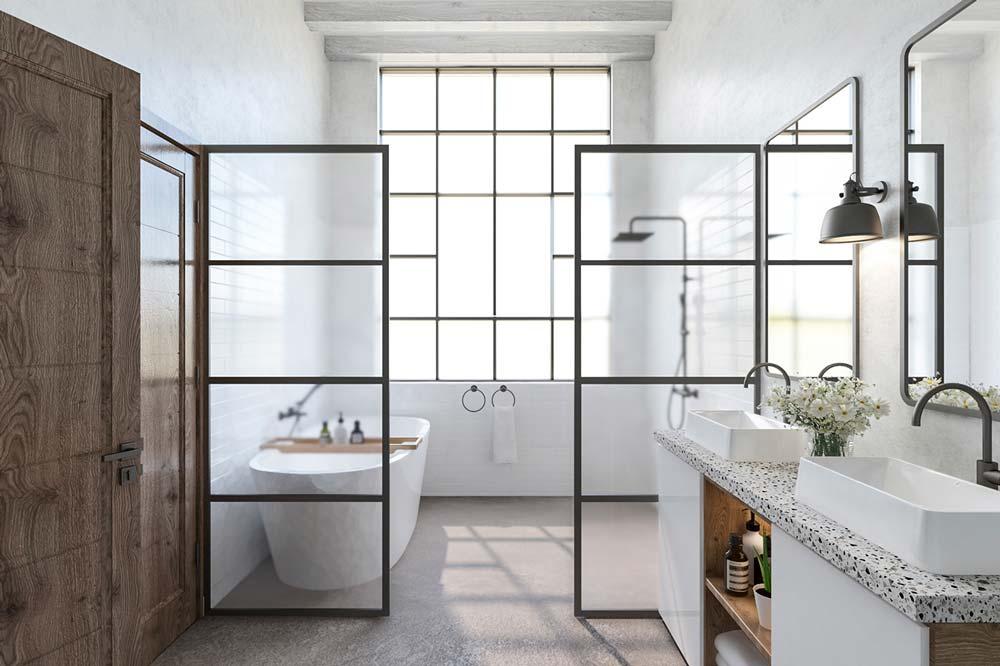 Salle de bain Japandi, cocooning et zen avec plan de travail en Terrazzo