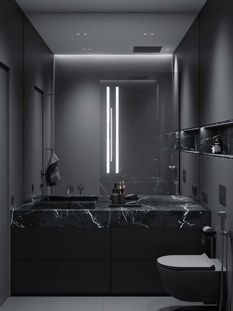 Salle de bain noire mate avec plan vasque en marbre noir
