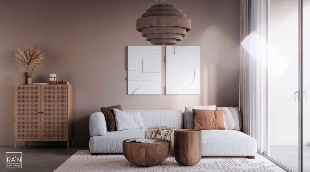 Salon Japandi avec du mobilier en bois et en cannage