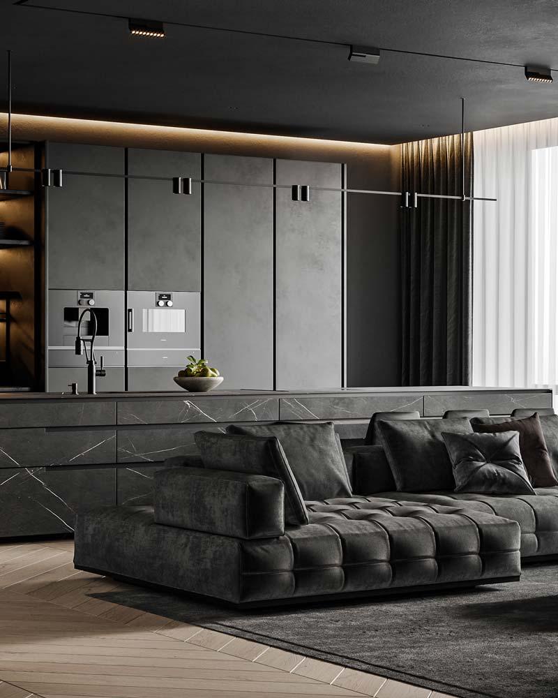 Salon ultra design noir, canapé, placard et plafond noir