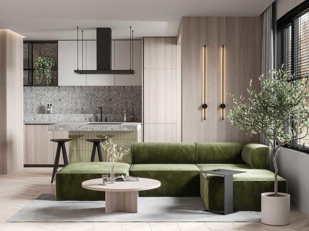 Un salon design et épuré avec un canapé kaki et une cuisine en Terrazzo