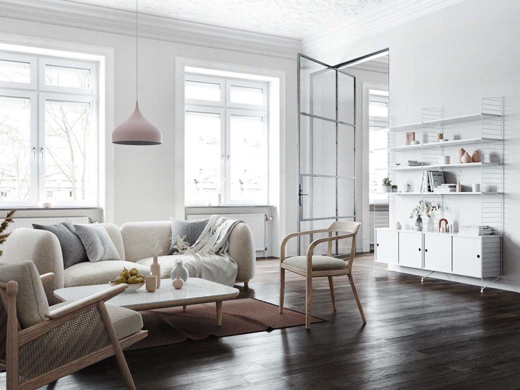 Salon ultra design scandinave épurée. décoration blanche avec sol en bois foncé