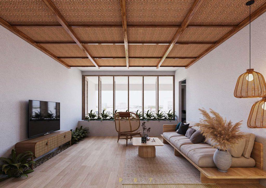Grand salon Japandi avec de la fibre naturelle au plafond, canapé bas et mobilier arrondit