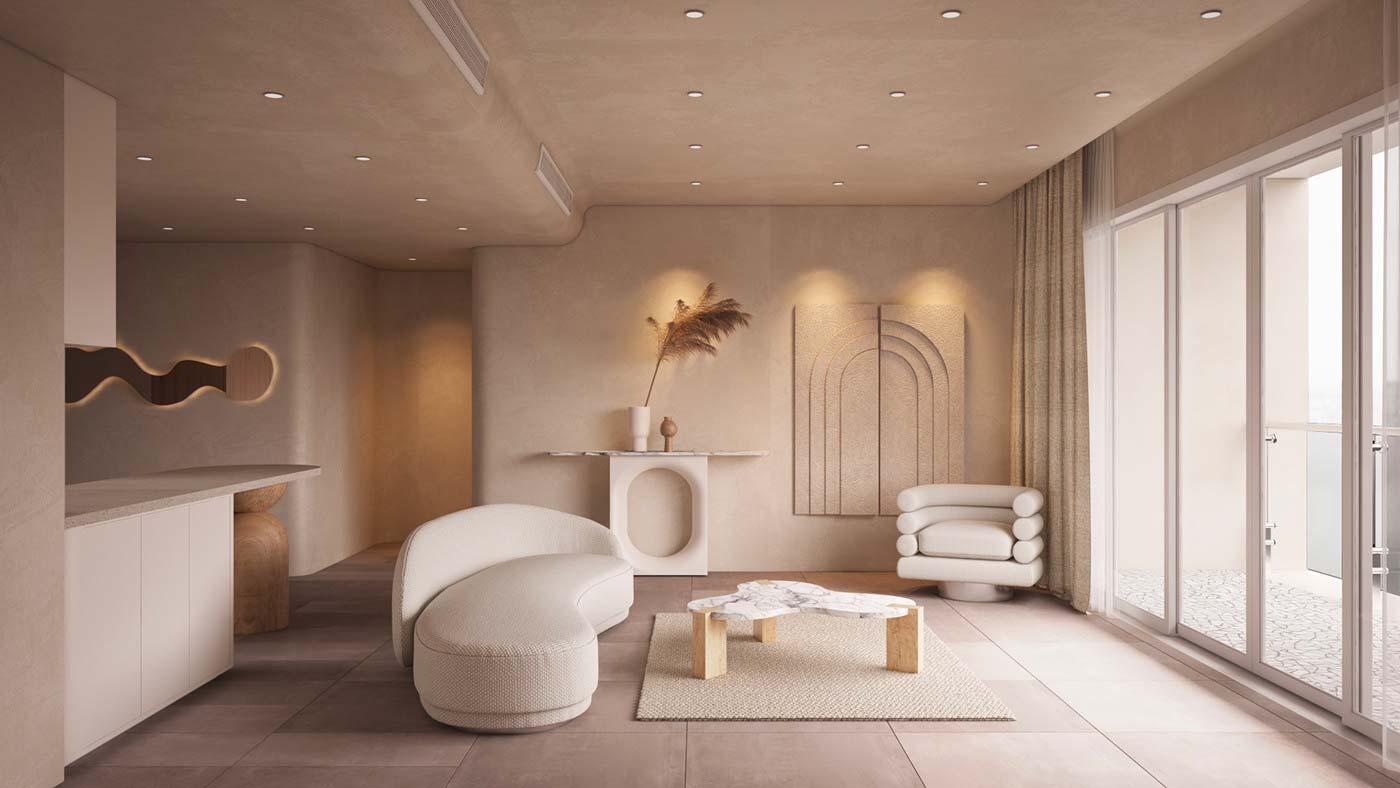 Salon moderne avec canapé organique, fauteuil arrondi et table basse incurvée