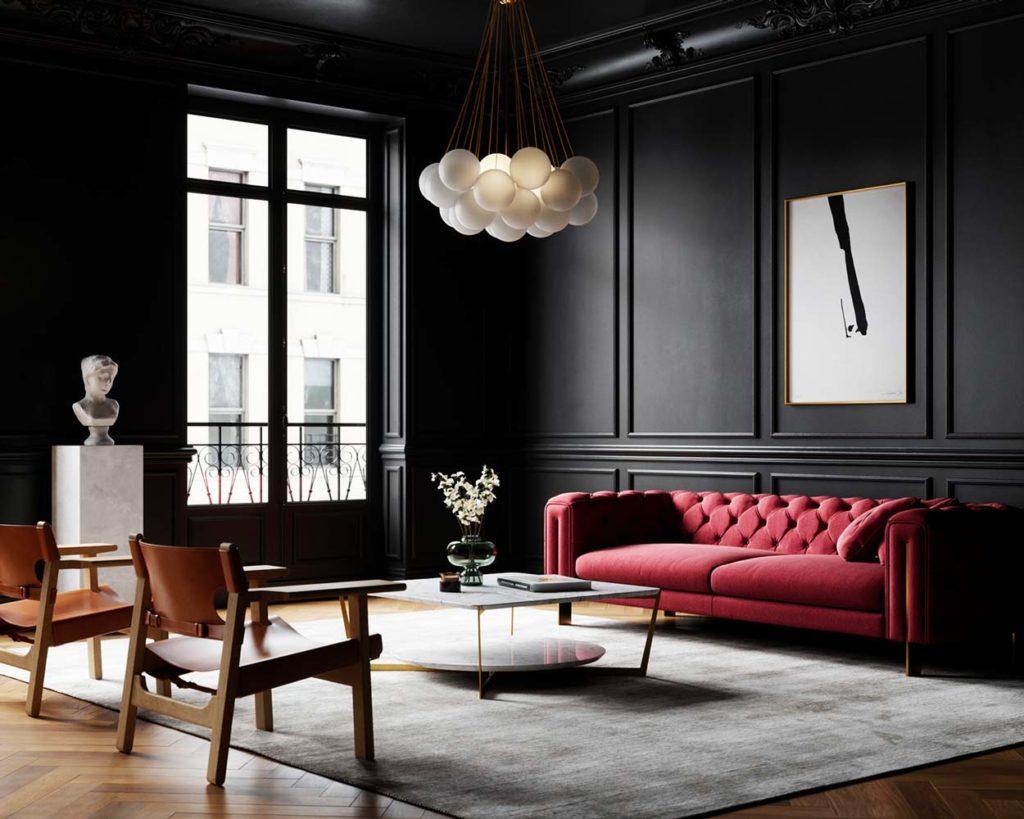 Salon classique avec mur et moulures noires, sol en bâton rompu et mobilier en cuir et velours